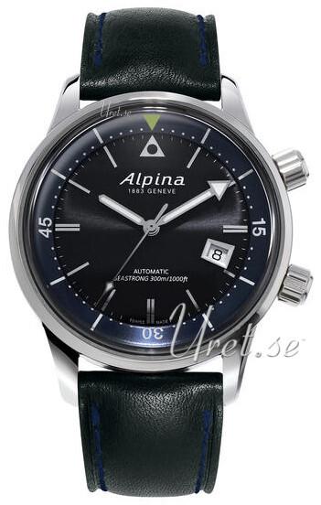 Alpina Seastrong Herrklocka AL-525G4H6 Svart/Läder Ø42 mm - Alpina
