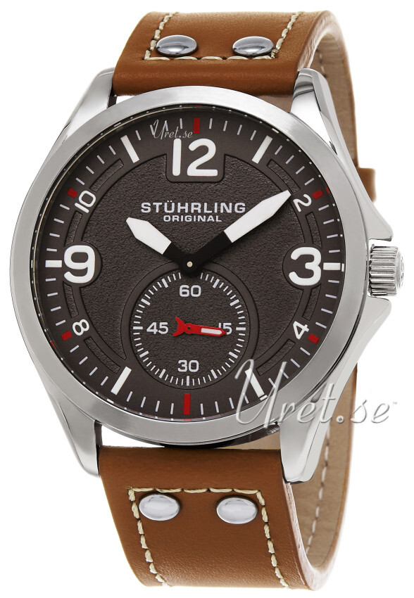 Stührling Original Aviator Tuskegee Herrklocka 684.02 Grå/Läder Ø44 mm - Stührling Original