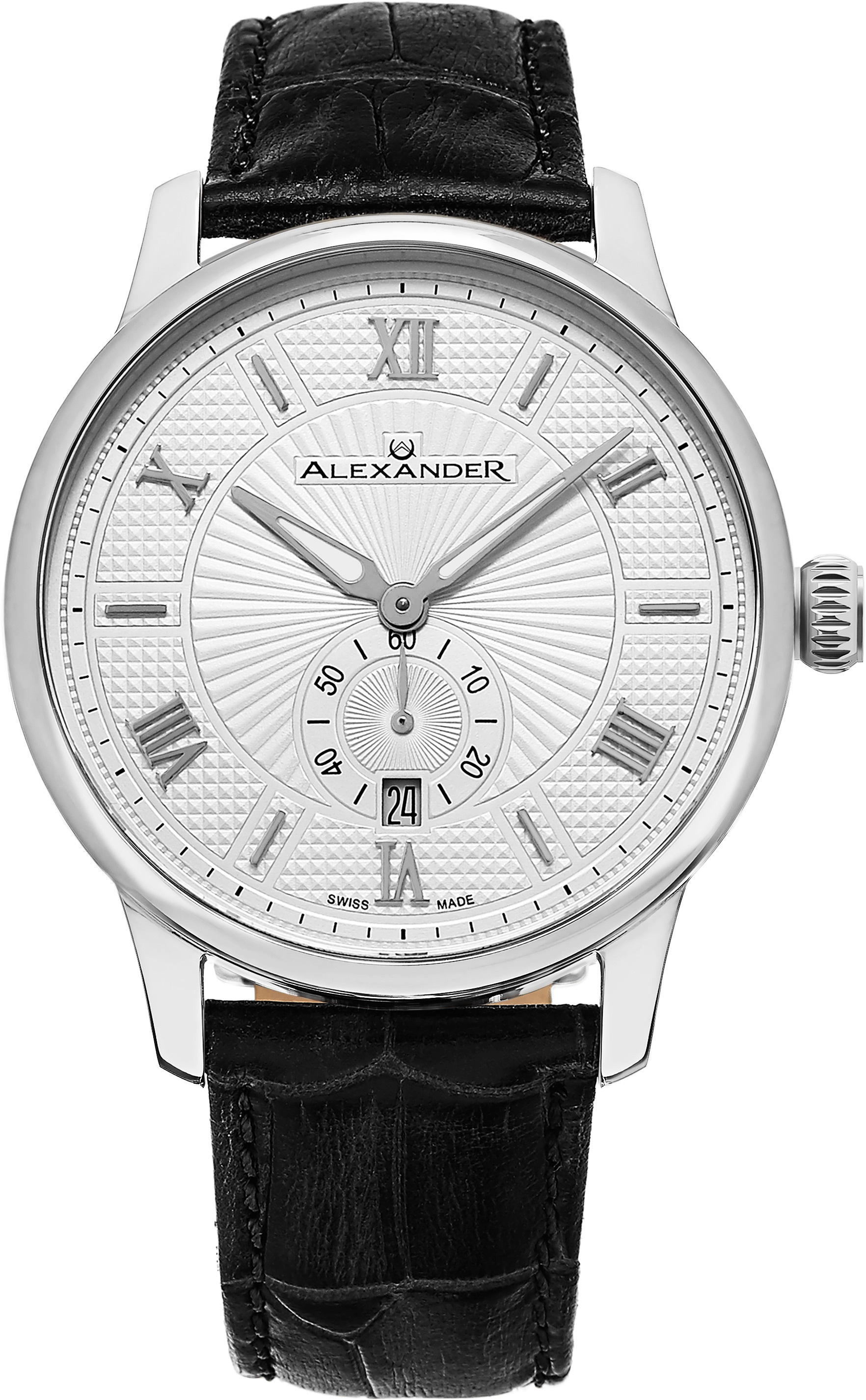 Alexander Statesman Herrklocka A102-01 Silverfärgad/Läder Ø42 mm - Alexander