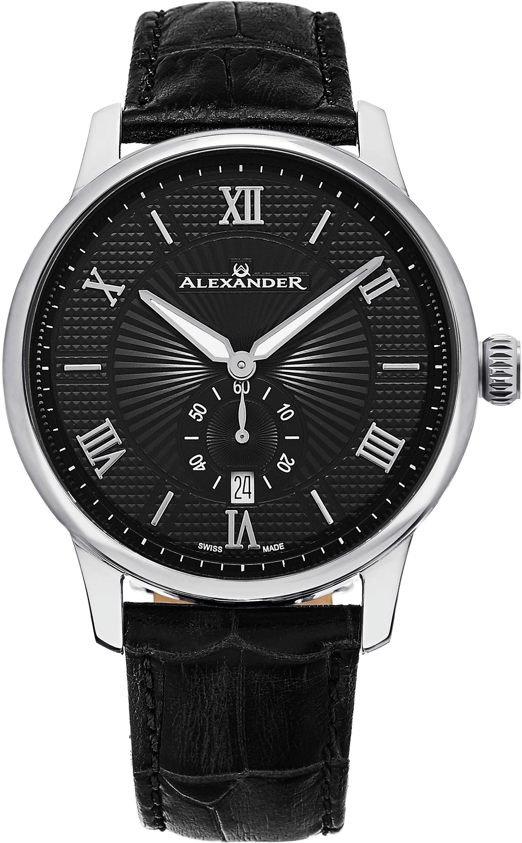 Alexander Statesman Herrklocka A102-02 Svart/Läder Ø42 mm - Alexander