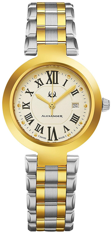 Alexander Monarch Damklocka A203B-02 Champagnefärgad/Gulguldtonat stål - Alexander