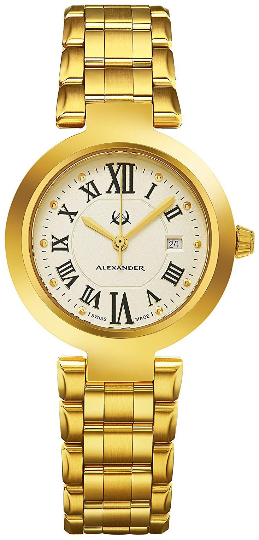 Alexander Monarch Damklocka A203B-03 Champagnefärgad/Gulguldtonat stål - Alexander