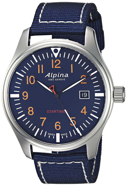 Alpina Startimer Herrklocka AL-240N4S6 Blå/Textil Ø42 mm - Alpina