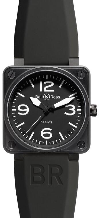 Bell & Ross BR 01-92 Herrklocka BR0192-BL-CA Svart/Gummi Ø46 mm - Bell & Ross