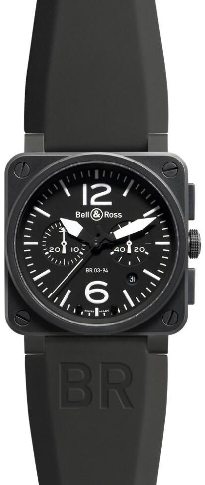 Bell & Ross BR 03-94 Herrklocka BR0394-BL-CA Svart/Gummi Ø42 mm - Bell & Ross