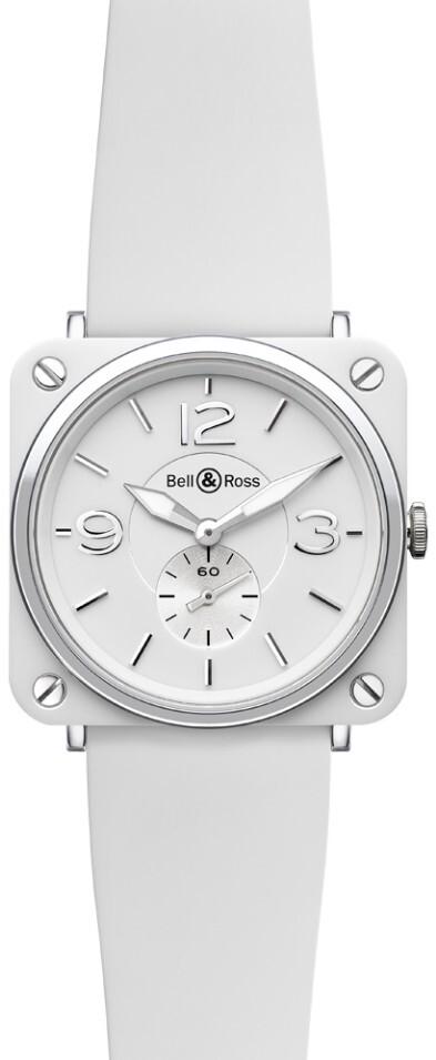 Bell & Ross BR S Quartz Herrklocka BRS-WH-CERAMIC-SRB Vit/Gummi Ø39 mm - Bell & Ross