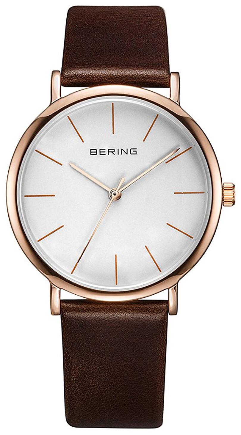 Bering Classic 13436-564 Vit/Läder Ø36 mm - Bering