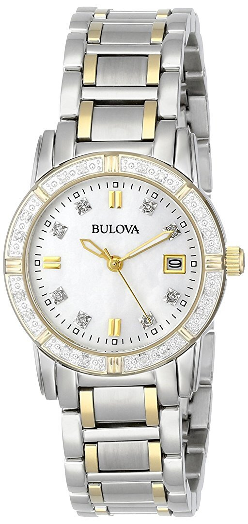 Bulova Diamond Damklocka 98R107 Vit/Gulguldtonat stål Ø26 mm - Bulova