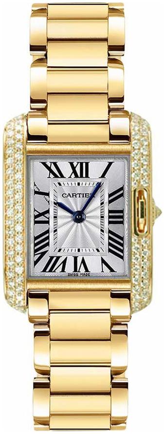Cartier Tank Anglaise Damklocka WT100005 Silverfärgad/18 karat gult guld - Cartier