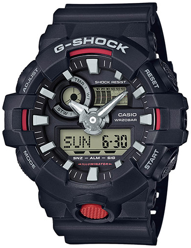 Casio G-Shock Herrklocka GA-700-1AER Svart/Resinplast Ø53.4 mm - Casio