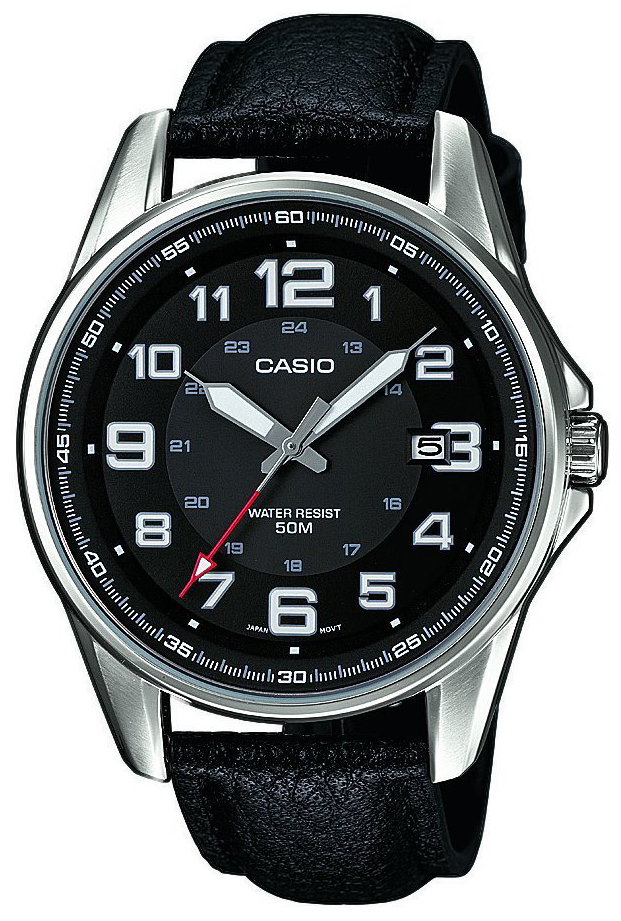 Casio Casio Collection Herrklocka MTP-1372L-1BVEF Svart/Läder Ø43 mm - Casio