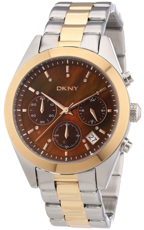 DKNY Chronograph Damklocka NY8515 Brun/Gulguldtonat stål Ø38 mm - DKNY