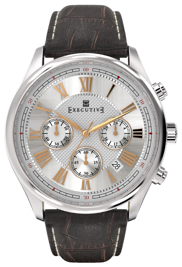 Executive Blazer Herrklocka EX-1005-02 Silverfärgad/Läder Ø42 mm - Executive