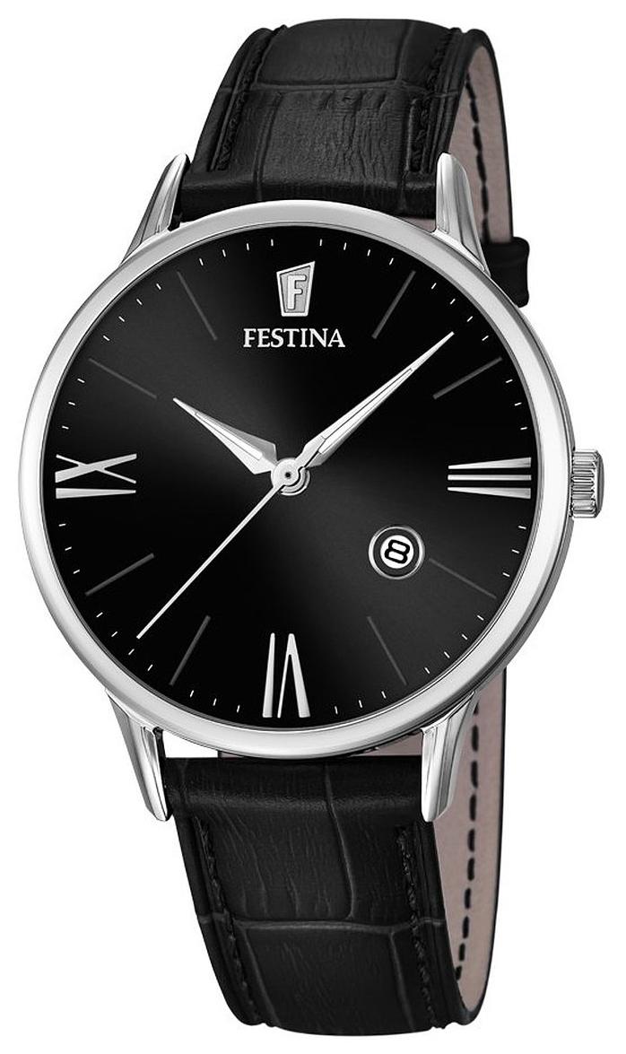 Festina Dress Herrklocka F16824-4 Svart/Läder Ø41 mm - Festina
