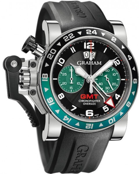 Graham Chronofighter Oversize Herrklocka 2OVGS.B12A Svart/Gummi Ø47 mm - Graham