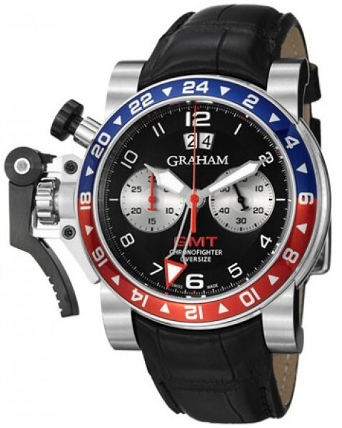 Graham Chronofighter Oversize Herrklocka 2OVHS.B39A Svart/Läder Ø47 mm - Graham