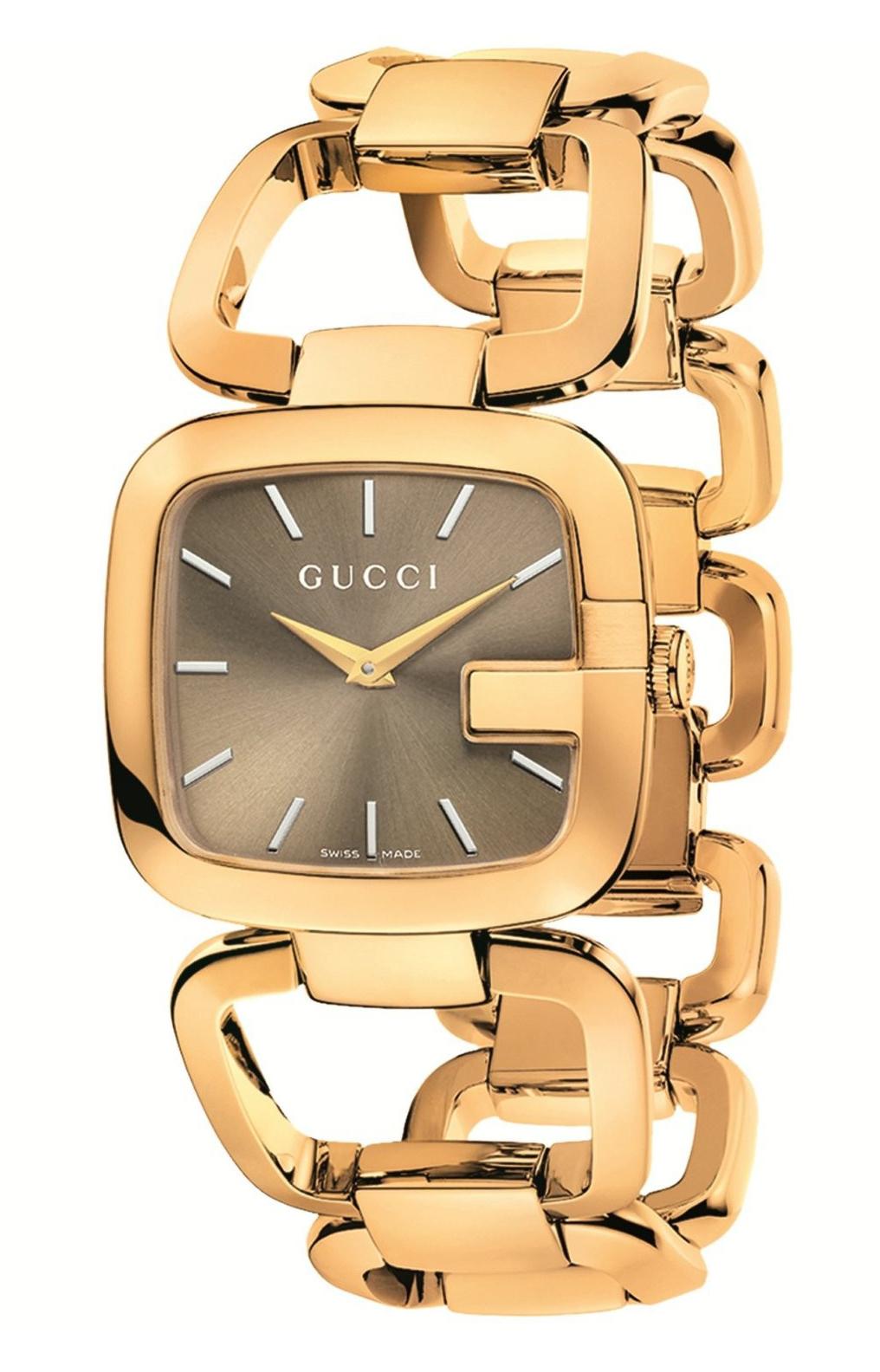 Gucci 125 MD Damklocka YA125408 Brun/Gulguldtonat stål - Gucci