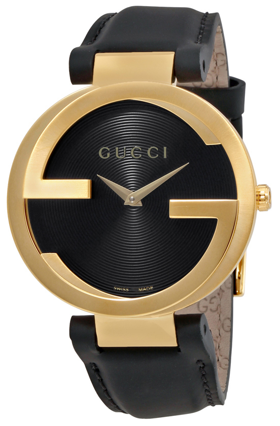 Gucci Interlocking YA133326 Svart/Läder Ø37 mm - Gucci