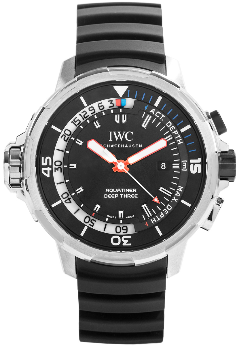 IWC Aquatimer Deep Three Herrklocka IW355701 Svart/Gummi Ø46 mm - IWC