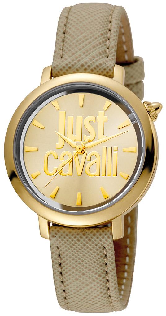 Just Cavalli Logo Damklocka JC1L007L0025 Gulguldstonad/Läder Ø34 mm - Just Cavalli