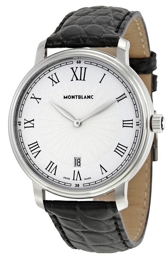 Montblanc Tradition Herrklocka 112633 Vit/Läder Ø40 mm - Montblanc