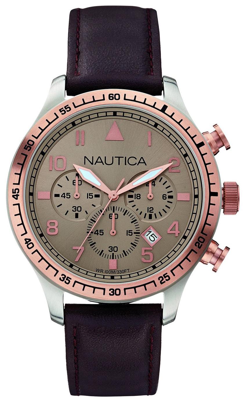 Nautica Chronograph Herrklocka A17656G Beige/Läder Ø44 mm - Nautica