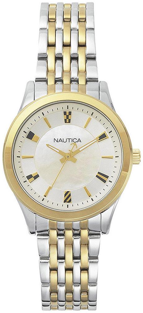 Nautica Dress Damklocka NAPVNC004 Vit/Gulguldtonat stål Ø36 mm - Nautica