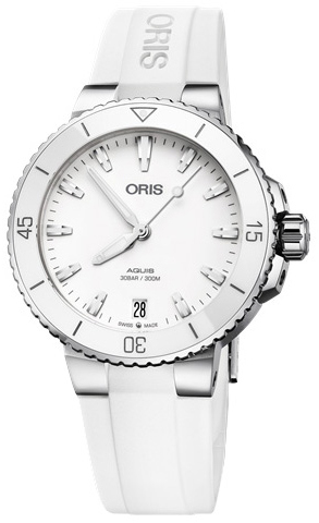 Oris Diving Damklocka 01 733 7731 4151-07 4 18 63FC Vit/Gummi Ø36.5 mm - Oris