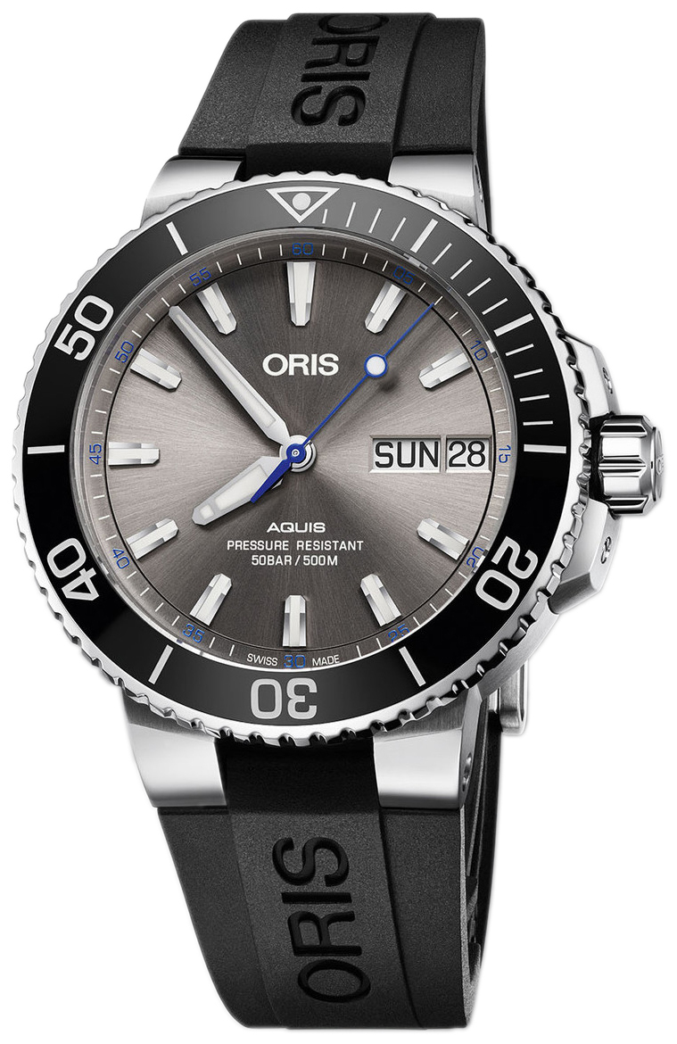 Oris Diving Herrklocka 01 752 7733 4183-Set RS Grå/Gummi Ø45.5 mm - Oris