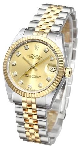 Rolex Datejust Lady 31 mm Damklocka 178273-0002 Gulguldstonad/18 karat - Rolex