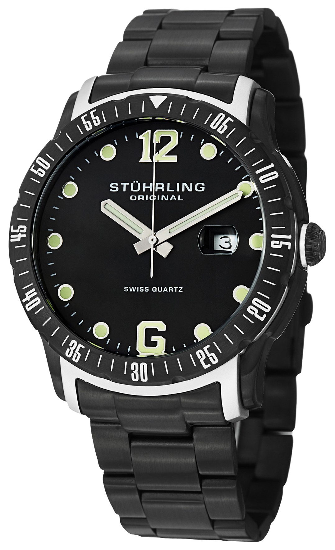 Stührling Original Aquadiver Herrklocka 421.335B1 Svart/Stål Ø45 mm - Stührling Original