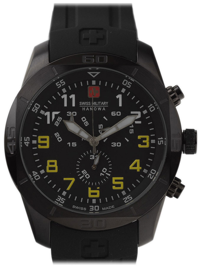 Swiss Military Sport Herrklocka 06-4265.13.007.11 Svart/Gummi Ø45 mm - Swiss Military