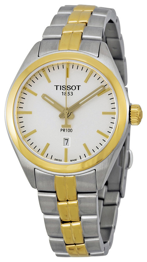 Tissot PR 100 Lady Damklocka T101.210.22.031.00 Silverfärgad/Gulguldtonat - Tissot