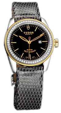 Tudor Glamour Date Damklocka 53023-BIDGLZS Svart/Läder Ø31 mm - Tudor