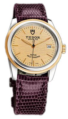 Tudor Glamour Date 55003-CHIDPRLZSP Champagnefärgad/Läder Ø36 mm - Tudor