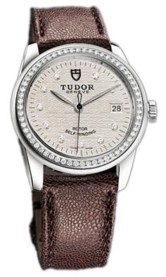 Tudor Glamour Date 55020-SDIDBRJLSP Silverfärgad/Läder Ø36 mm - Tudor