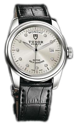 Tudor Glamour Day-Date Herrklocka 56000-SDIDSBLS Silverfärgad/Läder Ø39 - Tudor