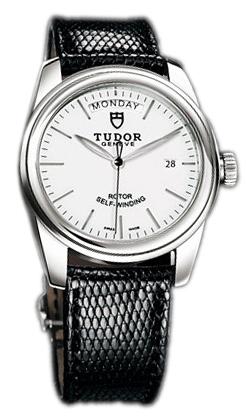 Tudor Glamour Day-Date Herrklocka 56000-WIDBLZS Vit/Läder Ø39 mm - Tudor