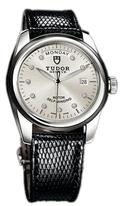 Tudor Glamour Day-Date Herrklocka 56010N-SDIDBLZS Silverfärgad/Läder - Tudor