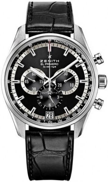 Zenith El Primero Herrklocka 03.2040.400-21.C496 Svart/Läder Ø42 mm - Zenith