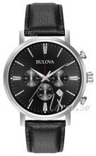 Bulova Svart/Läder Ø41 mm